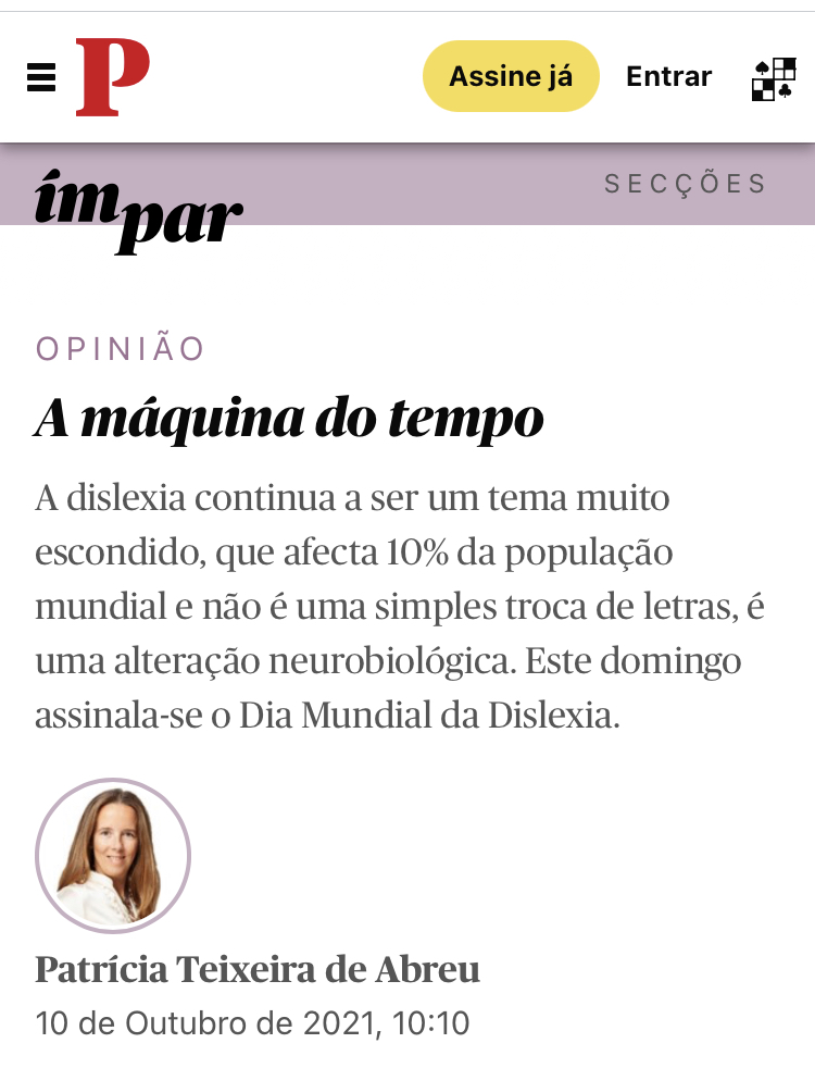Dia mundial da dislexia – Máquina do Tempo (Jornal Público 10/10/2021)